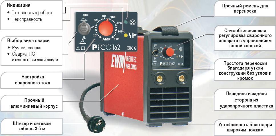 Инверторный сварочный аппарат pico 162 бензиновый генератор huter ht 950 а